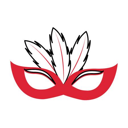 Birthday mask feathers decoration celebration festive vector illustration
