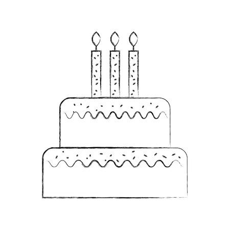 birthday cake with candles burning sweet delicious vector illustration
