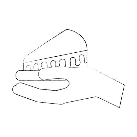 Main tenant la nourriture gâteau tranche d & # 39 ; eau illustration vectorielle Banque d'images - 88550882