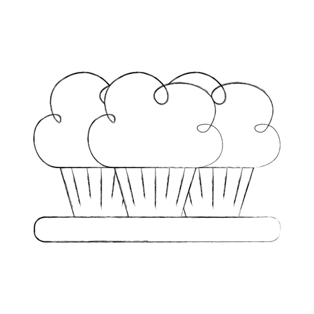 birthday three cupcake on the plate serving party dessert vector illustration