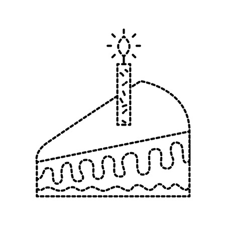 piece of cake with one candle celebrating the birthday vector illustration Illustration