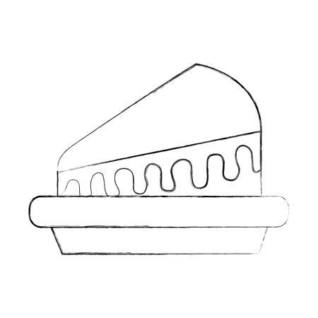 piece of cake on plate dessert sweet cream birthday food vector illustration Illustration