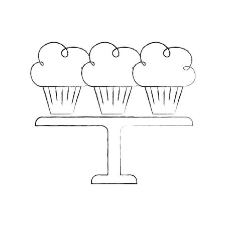 サービングトレイベクトルイラストに配置された3つの誕生日のカップケーキ  イラスト・ベクター素材