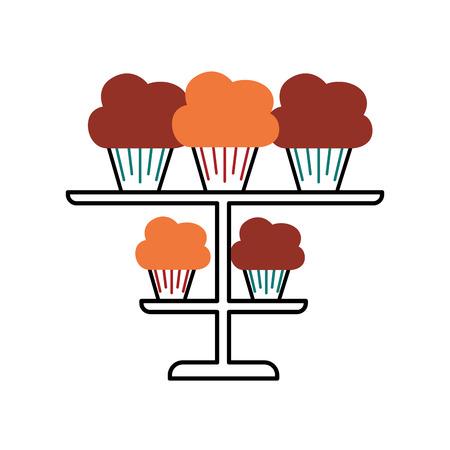 birhtday cupcakes candles on tiered platter decoration vector illustration Illustration