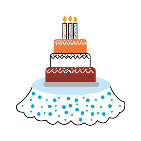 birthday cake candles on the table event service vector illustration Illustration