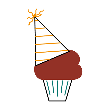 birthday cupcake with party hat decoration vector illustration