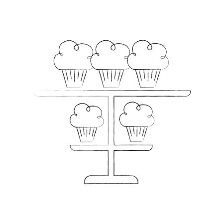 birthday cupcakes candles on tiered platter decoration vector illustration