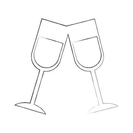 champagne toast kopjes verjaardag partij viering vectorillustratie
