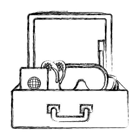 Voyage valise avec des éléments de conception illustration vectorielle Banque d'images - 88608875
