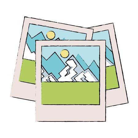Progettazione dell'illustrazione di vettore dell'icona isolata istantanea di paesaggio Archivio Fotografico - 88608878