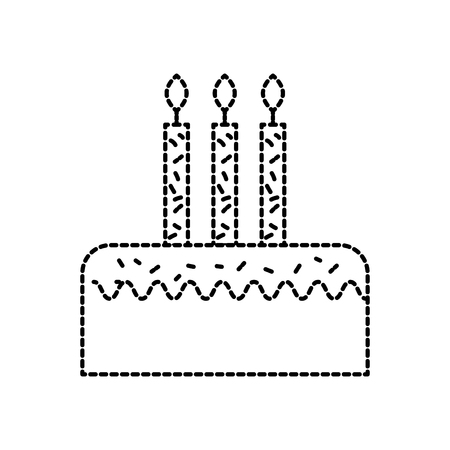 birthday cake with three candles celebration event vector illustration