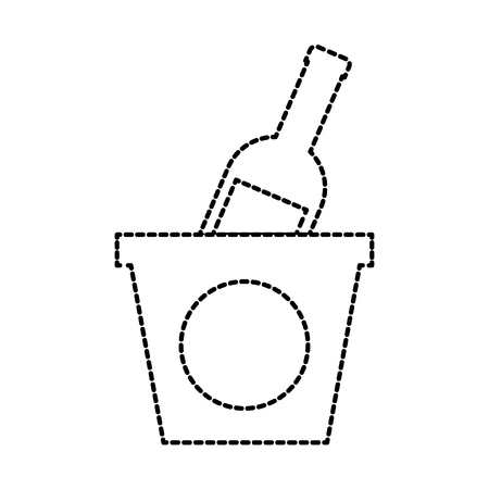 champagne bottle in ice bucket beverage party vector illustration Ilustração