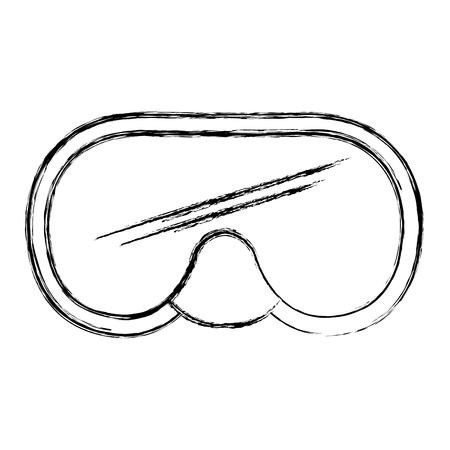 ダイビング シュノーケル グーグル分離アイコン ベクトル イラスト デザイン