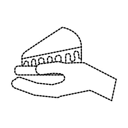 誕生日ケーキのスライス食品ベクトル図を持っている手  イラスト・ベクター素材