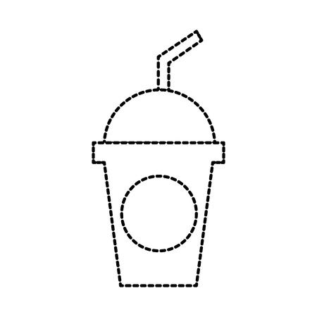 plastic frisdrank met koepel en stro viering vectorillustratie