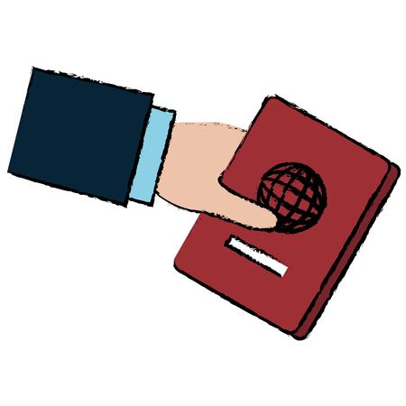 여권 문서 벡터 일러스트 디자인을 손 인간