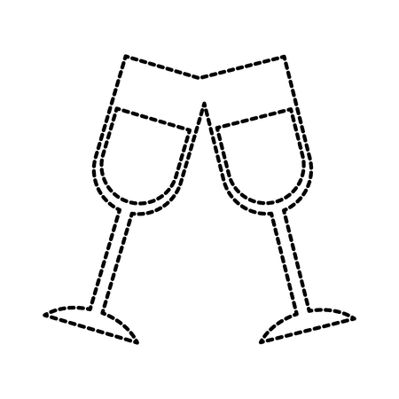 Champagner Toast Tassen Geburtstag Party Feier Vektor-Illustration Standard-Bild - 88555202
