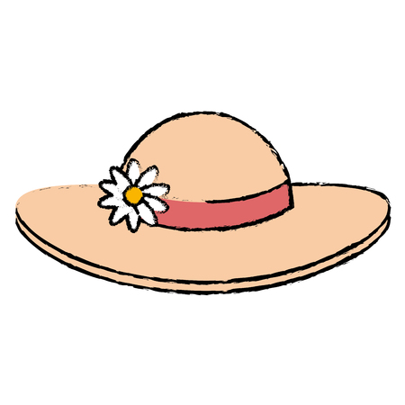summer female hat with flowers vector illustration design Stock Vector - 88555206