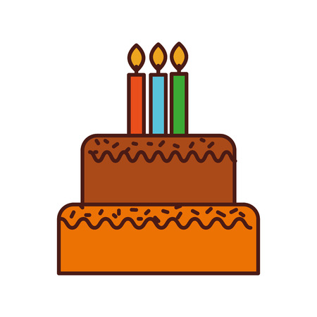 birthday cake with candles burning sweet delicious vector illustration 版權商用圖片 - 88608907