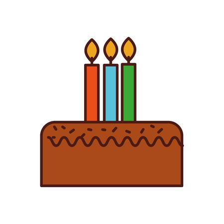 생일 케이크 3 촛불 축 하 이벤트 벡터 일러스트와 함께 일러스트