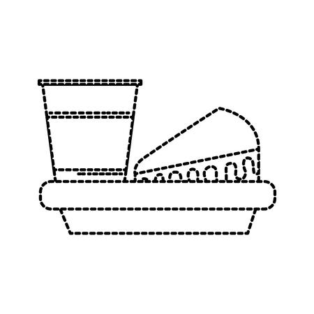 birthday cake and soda snack food dish vector illustration