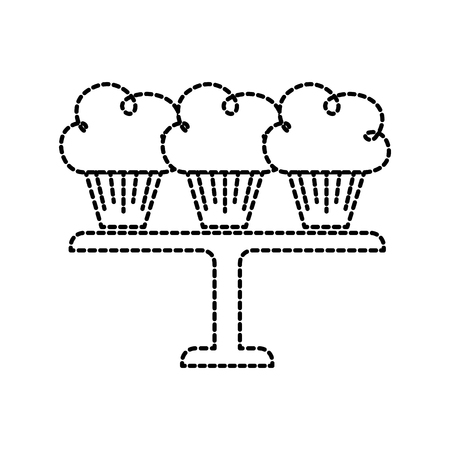three birthday cupcakes arranged on a serving tray vector illustration Illustration