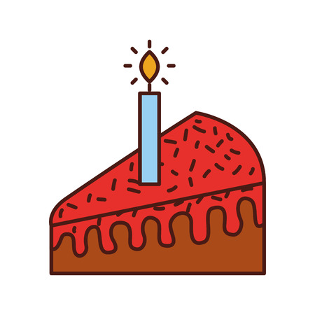 piece of cake with one candle celebrating the birthday vector illustration Ilustração