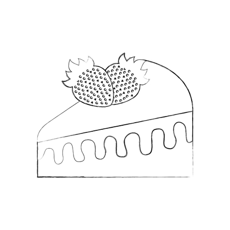 birthdat piece cake strawberry fruit sweet tasty vector illustration Ilustração