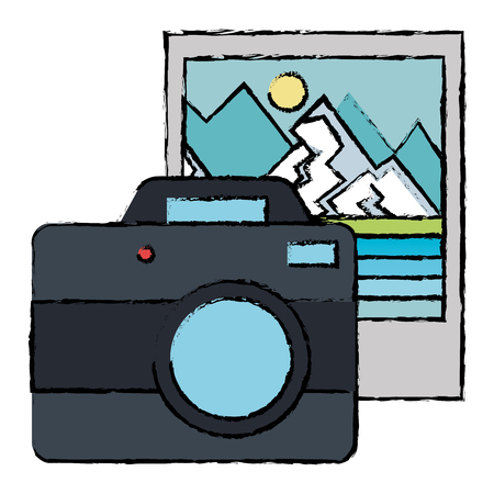 camera photographic with landscape picture vector illustration design Ilustração