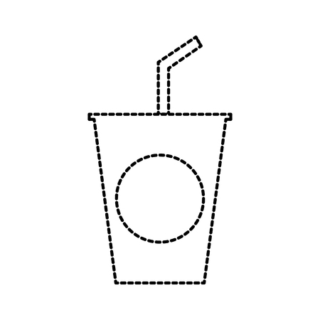 disposable plastic cup soda with straw birthday drink vector illustration