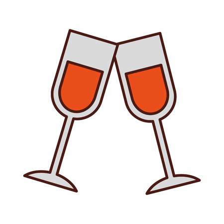 champagne toast cups birthday party celebration vector illustration