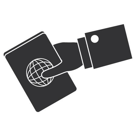 hand human with passport document vector illustration design Иллюстрация