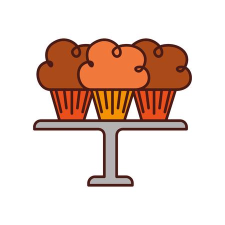 three birthday cupcakes arranged on a serving tray vector illustration Illustration