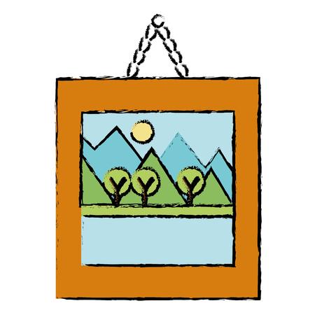 landscape painting isolated icon vector illustration design Çizim
