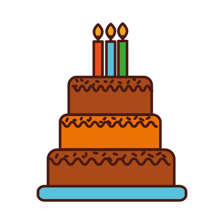 birthday cake with candles burning sweet delicious vector illustration Imagens - 88572902