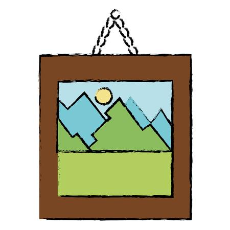 landscape painting isolated icon vector illustration design Ilustracja