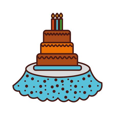 バースデー ケーキのキャンドル テーブル イベント サービスのベクトル図  イラスト・ベクター素材