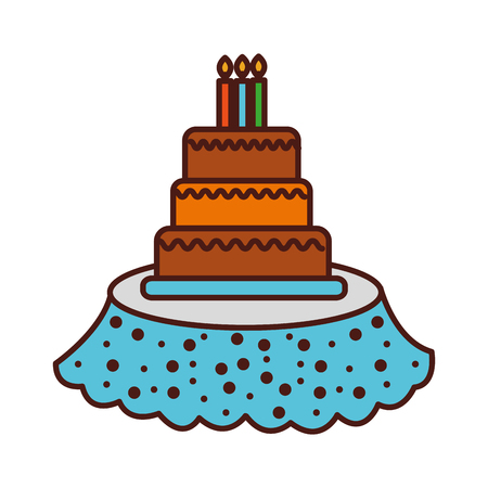 birthday cake candles on the table event service vector illustration Ilustrace