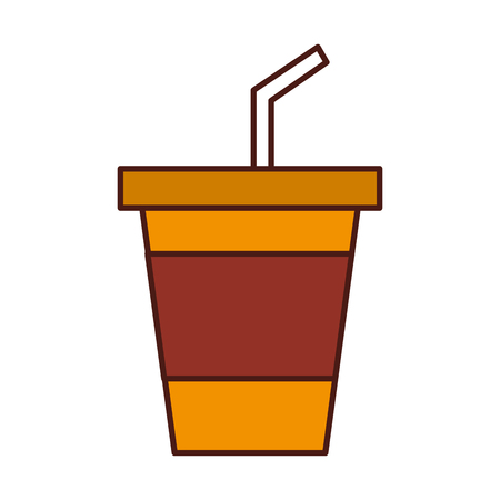 junkfood: disposable plastic cup soda with straw birthday drink vector illustration