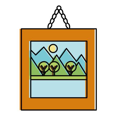 風景画分離アイコン ベクトル イラスト デザイン  イラスト・ベクター素材