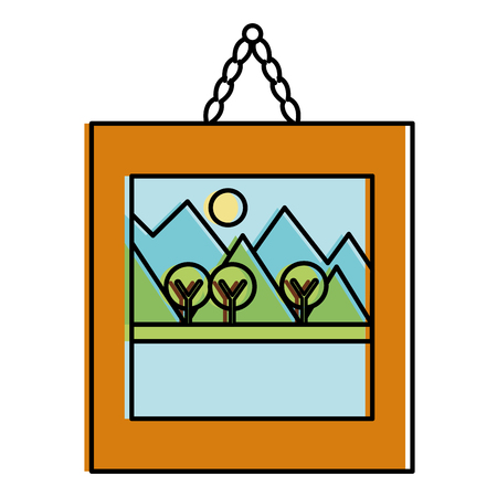 landscape painting isolated icon vector illustration design Ilustração