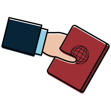 hand human with passport document vector illustration design