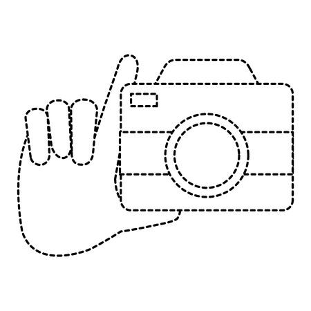 hand with camera photographic vector illustration design Çizim