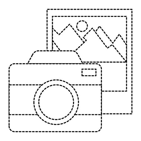 camera photographic with landscape picture vector illustration design Çizim