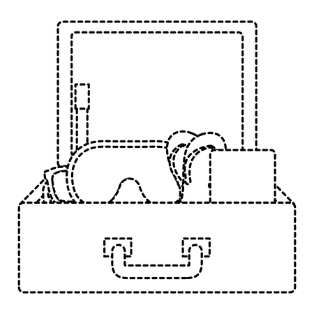 suitcase travel with elements vector illustration design