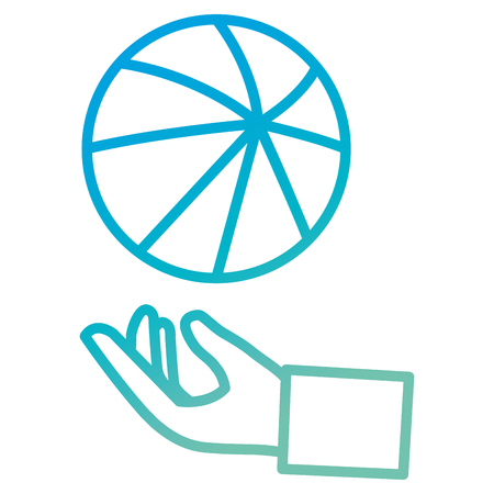 hand with beach balloon plastic icon vector illustration design