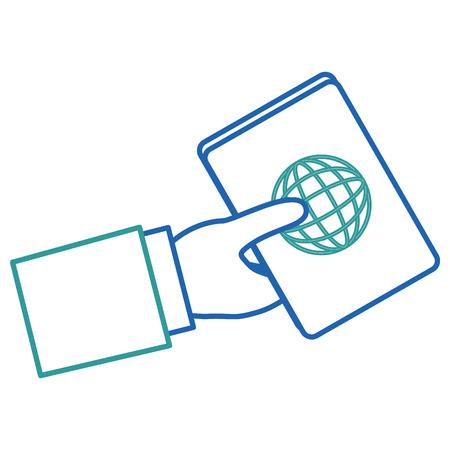 Mano humana con diseño de ilustración de vector de documento de pasaporte Foto de archivo - 88649279