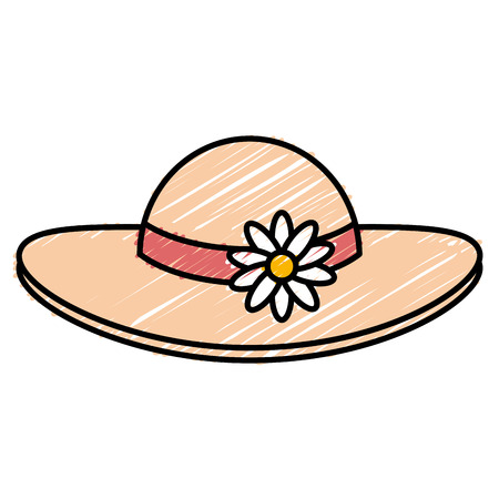 summer female hat with flowers vector illustration design