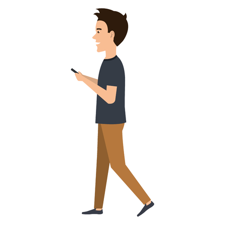 man chatting with smartphone vector illustration design Illustration