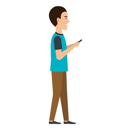 man chatting with smartphone vector illustration design Ilustração